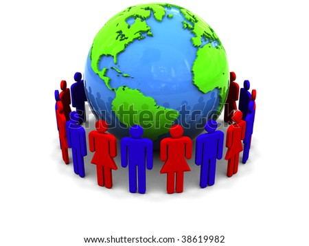 abstract 3d illustration of people around earth globe