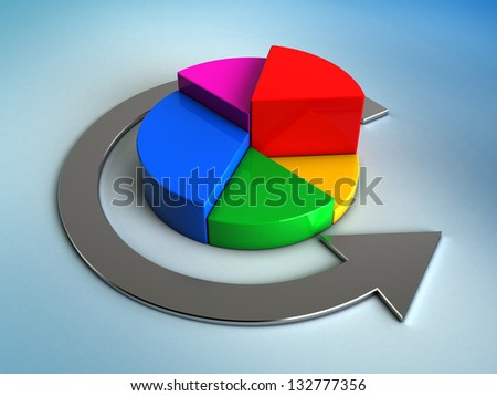 abstract 3d illustration of pie chart over blue background