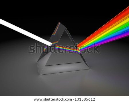 abstract 3d illustration of prism dividing light - stock photo