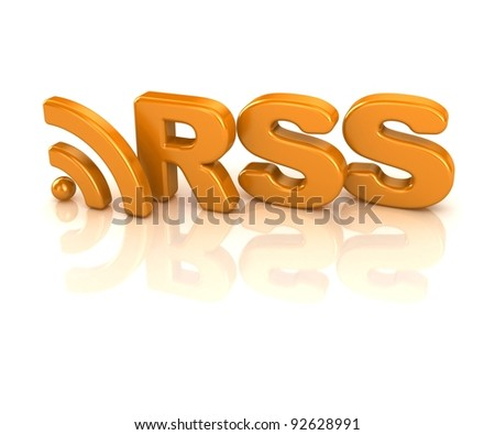 abstract 3d illustration of rss symbol or icon, over white background