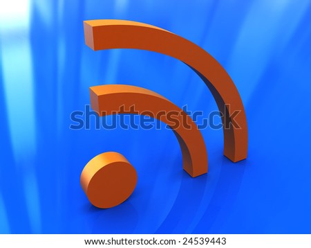 abstract 3d illustration of rss symbol over blue background - stock photo