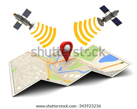 abstract 3d illustration of sattelite navigation concept - stock photo