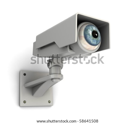 abstract 3d illustration of security camera with human eye - stock photo