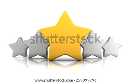 abstract 3d illustration of stars rating symbol, over white background