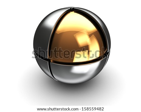 abstract 3d illustration of steel ball with golden core - stock photo