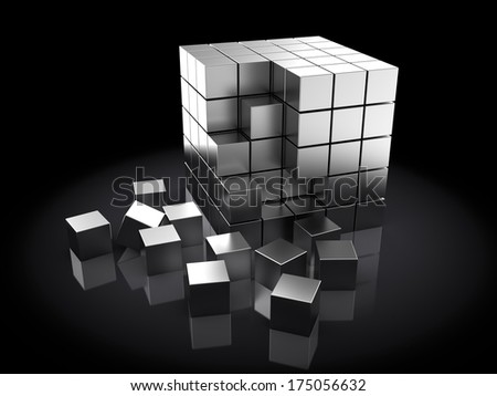 abstract 3d illustration of steel cubes, over dark background - stock photo