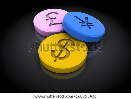 abstract 3d illustration of tablets with currency signs, over dark background - stock photo