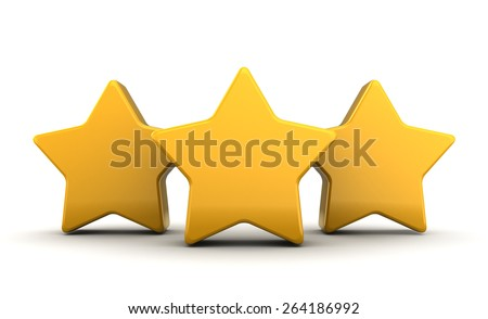 abstract 3d illustration of three yellow stars over white background