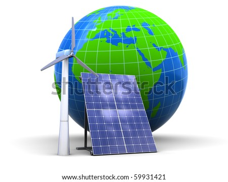 abstract 3d illustration of wind and solar generators, over white background - stock photo