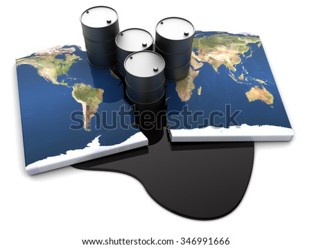abstract 3d illustration of worldwide oil conflict concept - stock photo