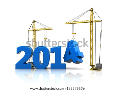 abstract 3d illustration of 2014 year construction - stock photo