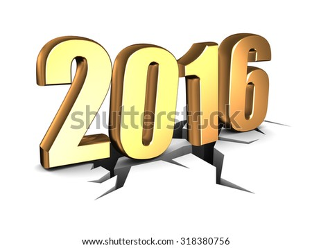 abstract 3d illustration of 2016 year sign - stock photo