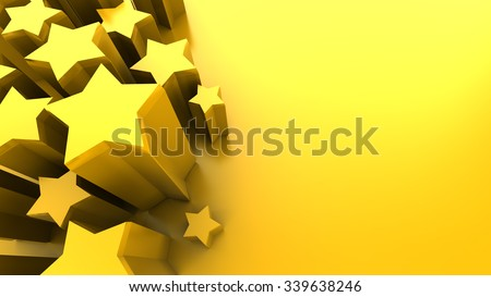 abstract 3d illustration of yellow background with stars - stock photo
