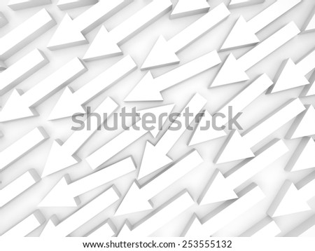 Abstract 3d illustration, one white arrow goes opposite - stock photo