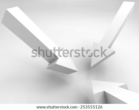 Abstract 3d illustration. Three arrow signs mark one position - stock photo