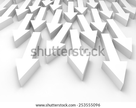 Abstract 3d illustration with large group of white arrows  - stock photo