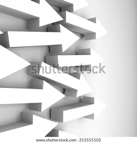 Abstract 3d illustration with white arrows on the wall - stock photo
