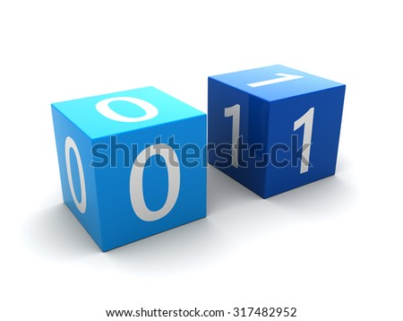 abstract 3d ilustration of two bits cubes, over white background - stock photo