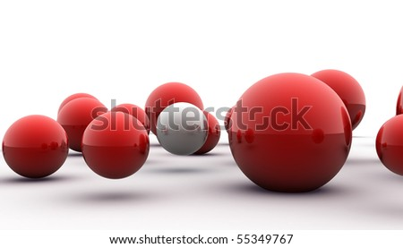 abstract 3d image of metallic painted balls