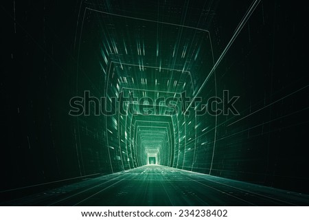 Abstract 3D information data tunnel - stock photo