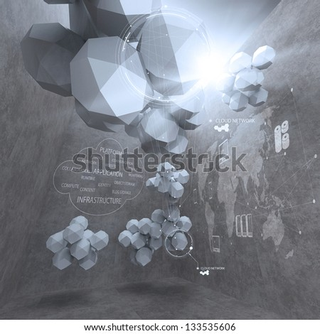 abstract 3d low polygon design for cloud networking computer as concept - stock photo