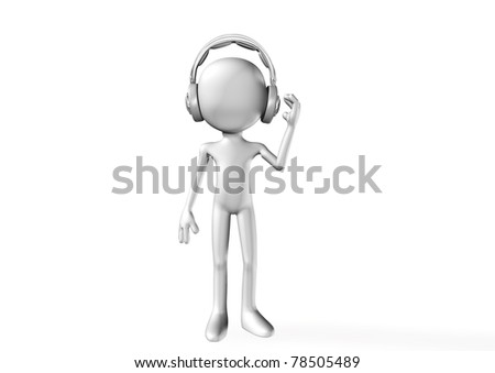 abstract 3D man with headphones - stock photo