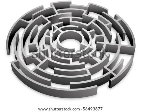 abstract 3d maze - stock photo