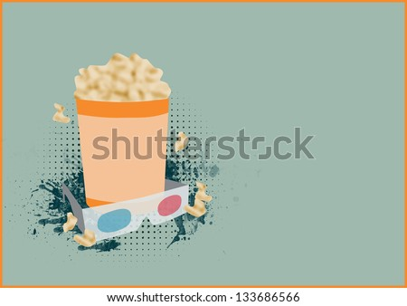 Abstract 3D movie poster background with space - stock photo