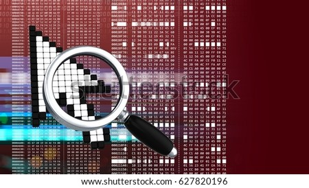 abstract 3d red background with mouse cursor magnify glass and hexadecimal code