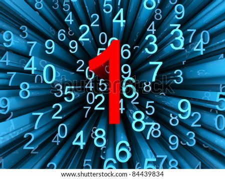 Abstract 3d render,blue numbers 2,3,4,5,6,7,8,9,0 with single red number one close to camera - stock photo