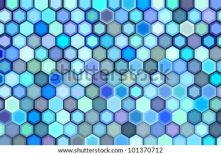 abstract 3d render hexagon backdrop in blue purple colors - stock photo