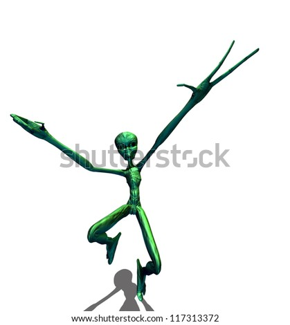 Abstract 3d render of green alien on white background.