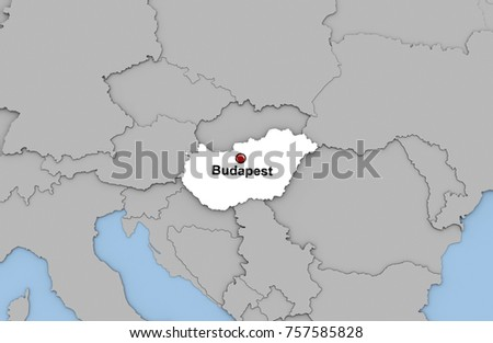 Abstract 3 d render map hungary highlighted stock illustration abstract 3d render of map of hungary highlighted in white color and location of the capital gumiabroncs Images