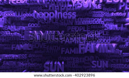 abstract 3d rendered background with different positive words