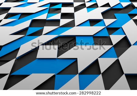 Abstract 3d rendering of black, blue and white futuristic surface with triangles. Sci-fi background. - stock photo