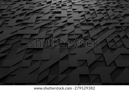 Abstract 3d rendering of black futuristic surface with triangles. Sci-fi background. - stock photo