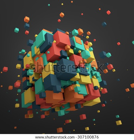 Abstract 3d rendering of chaotic particles. Colored cubes in empty space. Colorful background. - stock photo