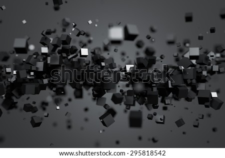 Abstract 3d rendering of chaotic particles. Sci fi cubes in empty space. Futuristic background. - stock photo