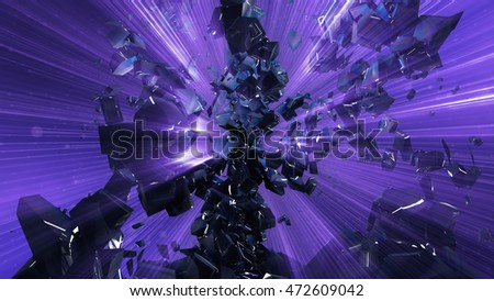 Abstract 3d rendering of chaotic shapes. Explosion of glowing particles. Shapes in empty space. Futuristic technology style background. 3D illustration.