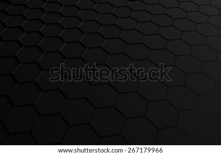 Abstract 3d rendering of futuristic surface with hexagons. Black sci-fi background. - stock photo