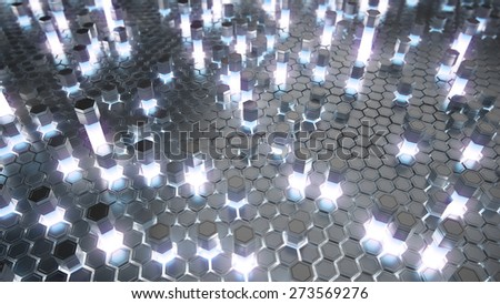 Abstract 3d rendering of futuristic surface with hexagons. Reactor radioactive elements. Sci-fi background. Top view. - stock photo
