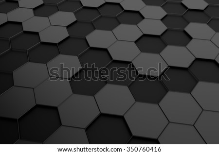 Abstract 3d rendering of futuristic surface with hexagons. Sci-fi background. - stock photo