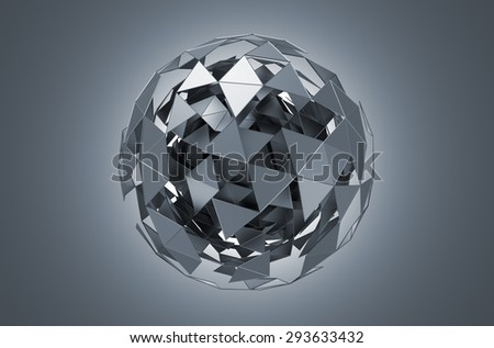 Abstract 3d rendering of low poly metal sphere with chaotic structure. Sci-fi background with wireframe and globe in empty space. Futuristic shape. - stock photo