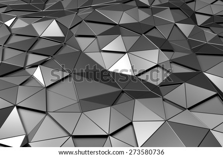Abstract 3d rendering of low poly metal surface. Futuristic background. - stock photo