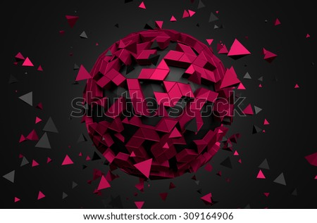 Abstract 3d rendering of low poly sphere with chaotic structure. Sci-fi background with globe in empty space. Futuristic shape. - stock photo