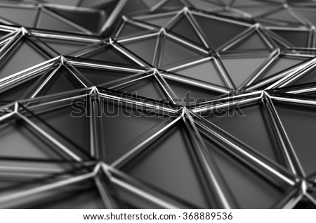 Abstract 3d rendering of low poly surface. Background with futuristic polygonal shape.