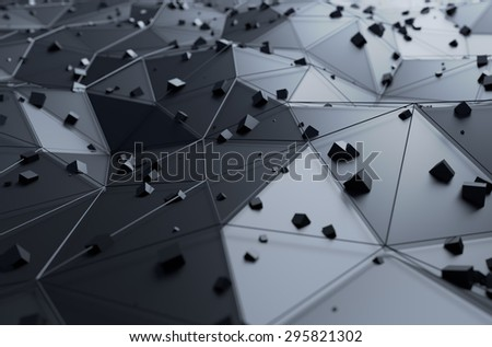 Abstract 3d rendering of surface with chaotic cubes. Background with futuristic lines and low poly shape. - stock photo
