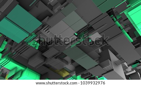 Abstract 3D rendering of surface with random cubes and electronic shapes. futuristic science fiction city with lines and low poly shape.