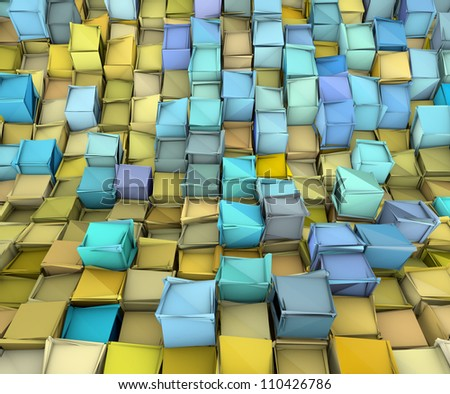 abstract 3d shape backdrop in yellow and blue - stock photo