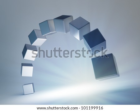 Abstract 3d shiny cubes illustration - stock photo